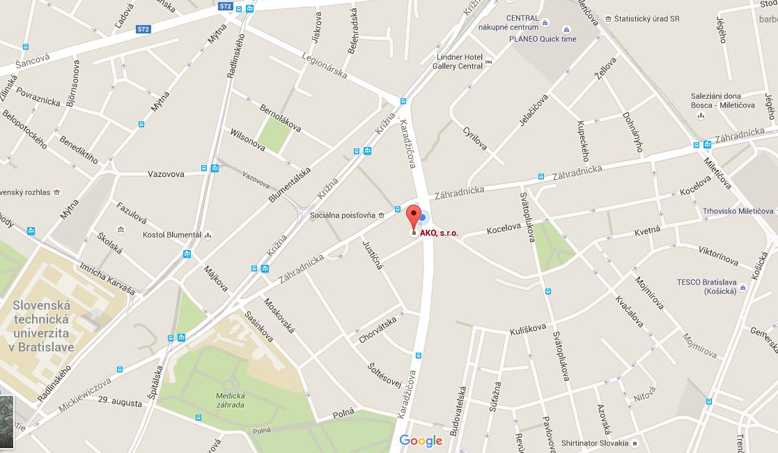 Mapa_agentura_ako_karadzicova_41_bratislava